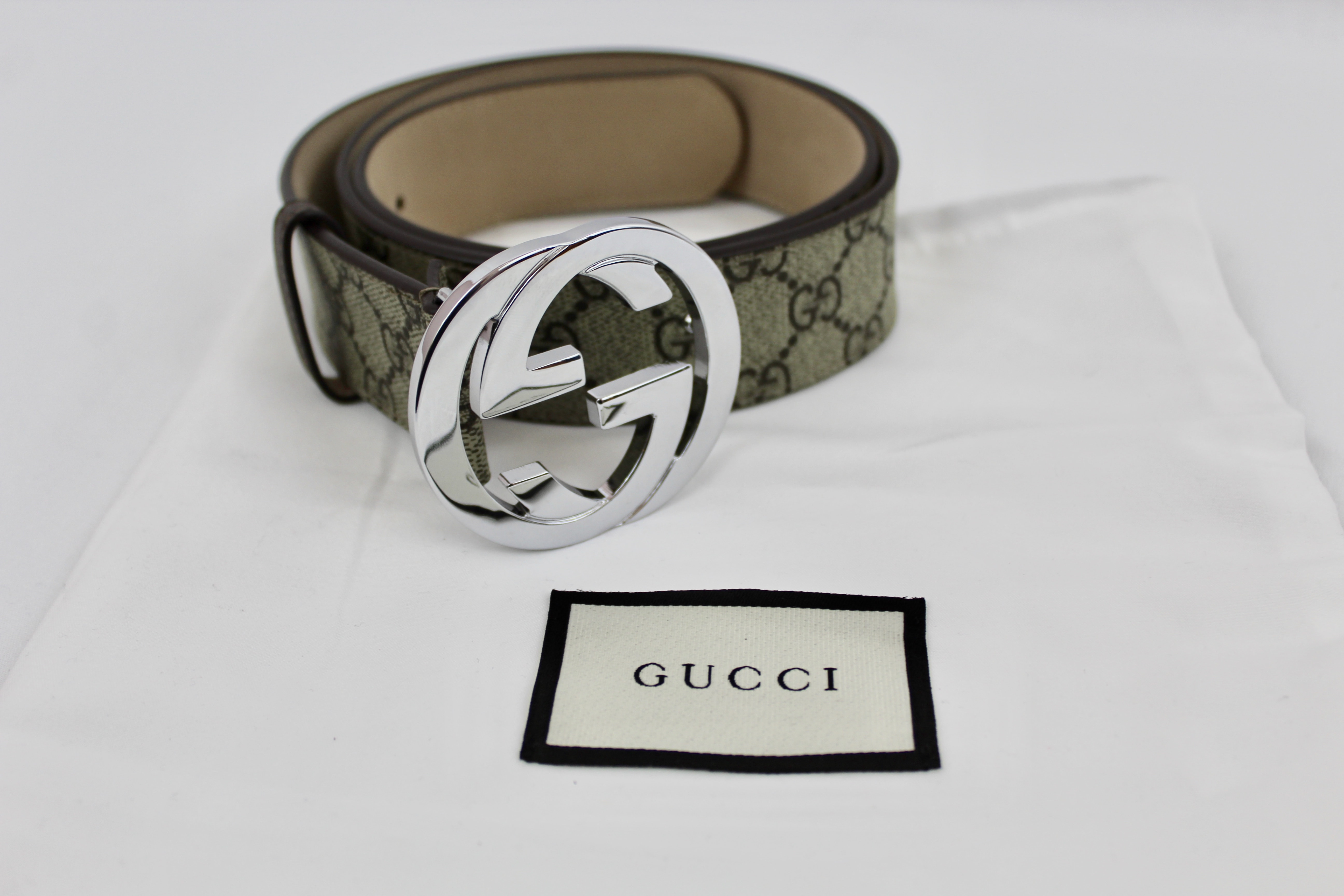 c7af4092428f GUCCI GG Supreme brown beige belt – Changes Luxury Consignment